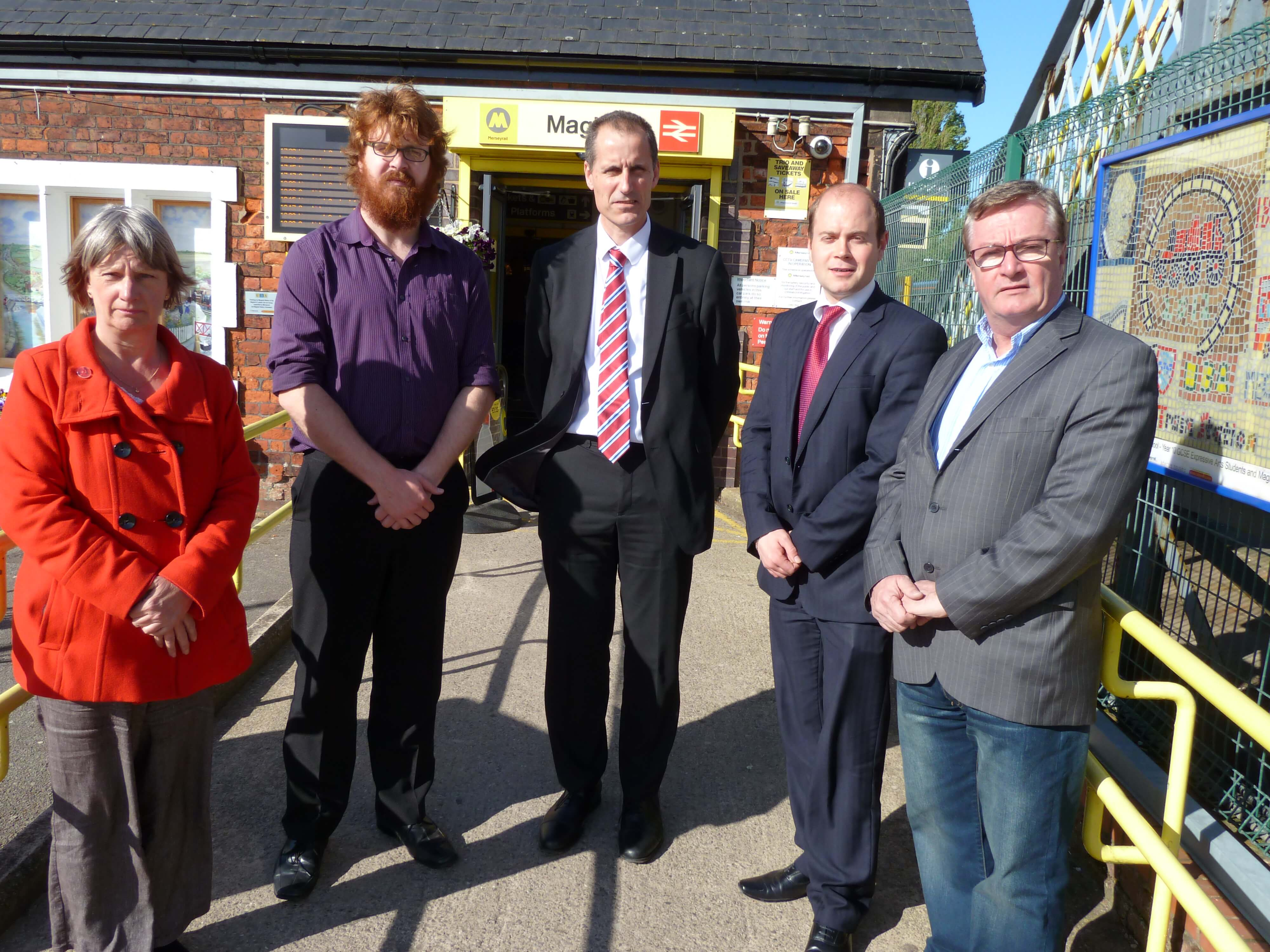 Merseytravel chairman Cllr Liam Robinson during his site visit to Maghull with Sefton Central Labour MP Bill Esterson, Cllr June Burns, Cllr Rob Owens and Cllr Patrick McKinley