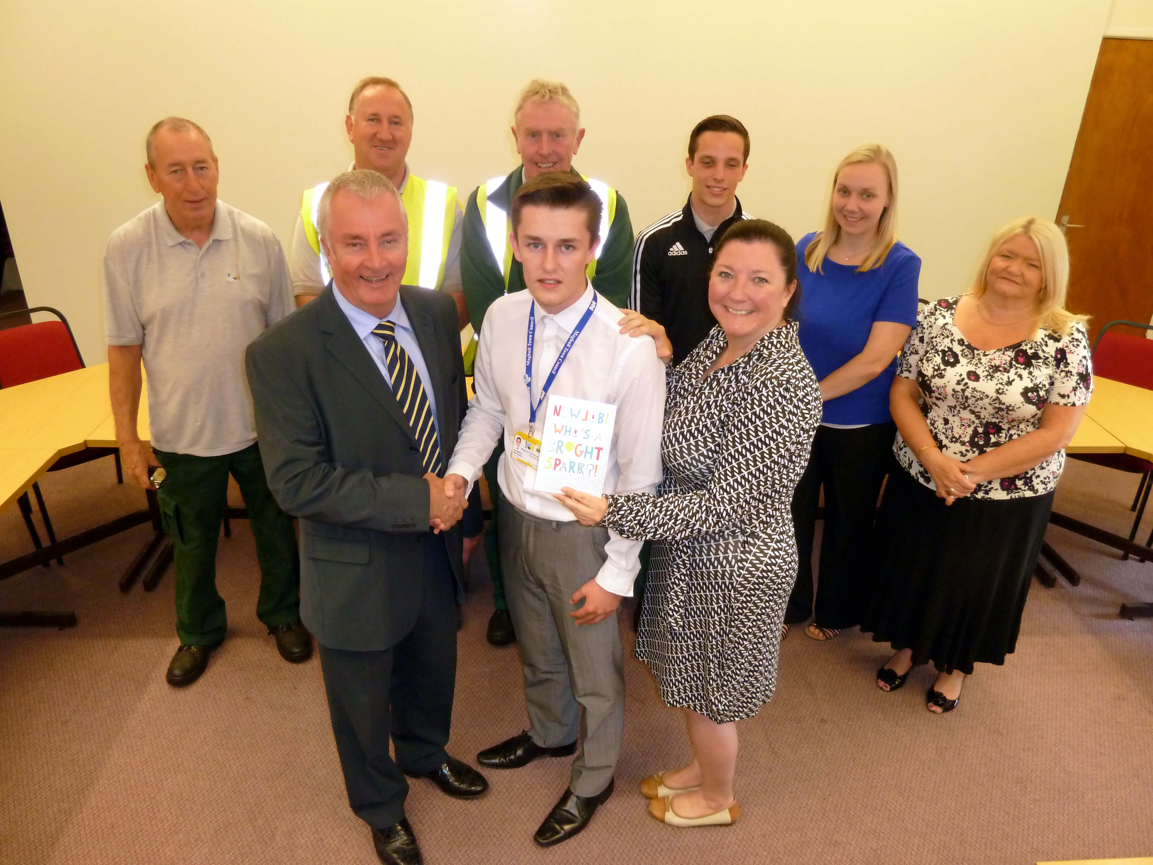 Maghull Town Council Labour leader Cllr Patrick McKinley and clerk Angela MacIntyre are joined by town council staff as they wish apprentice Thomas Williams best of luck in his new job.