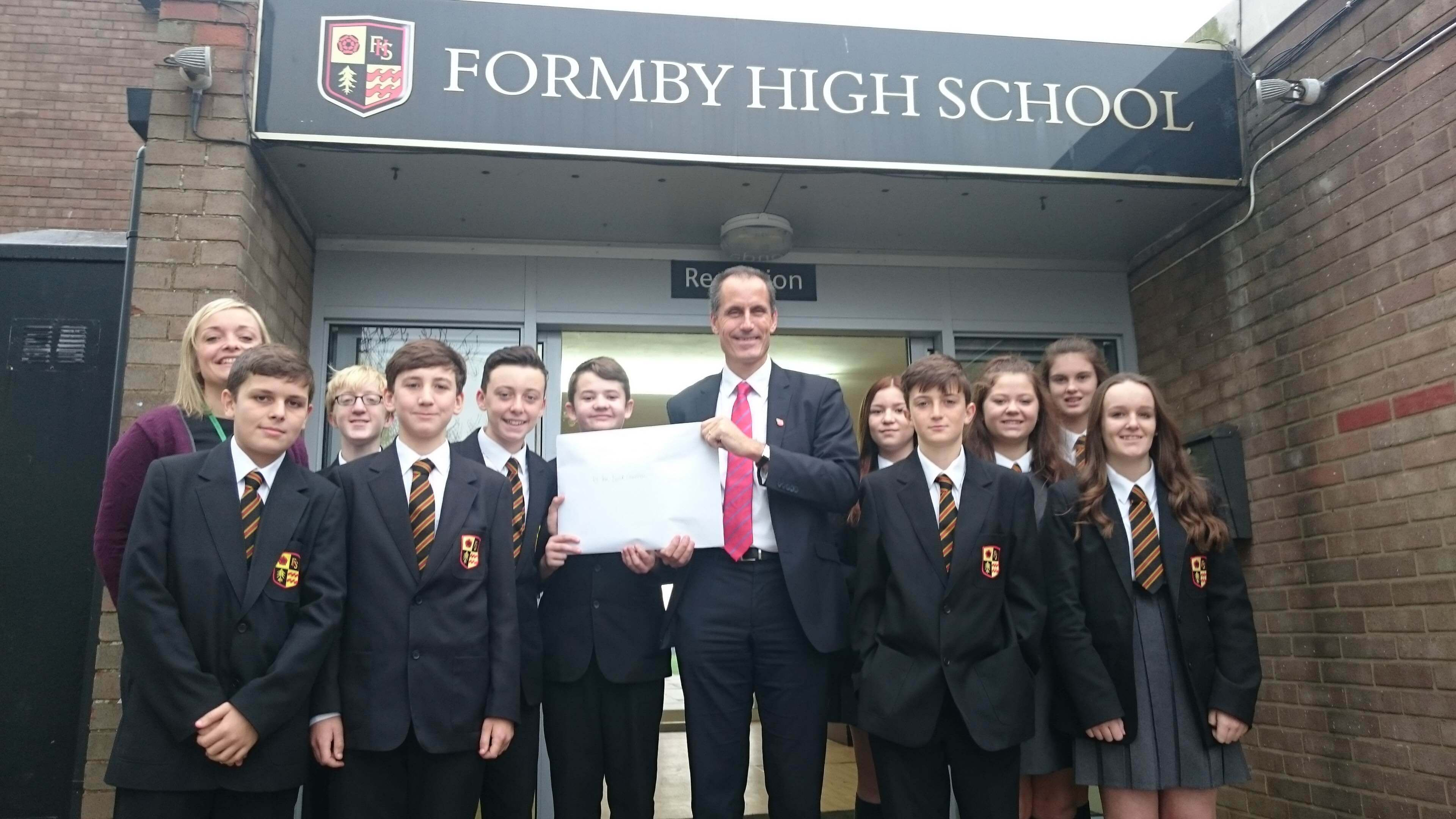 Year 10 pupils from Formby High with MP Bill Esterson.