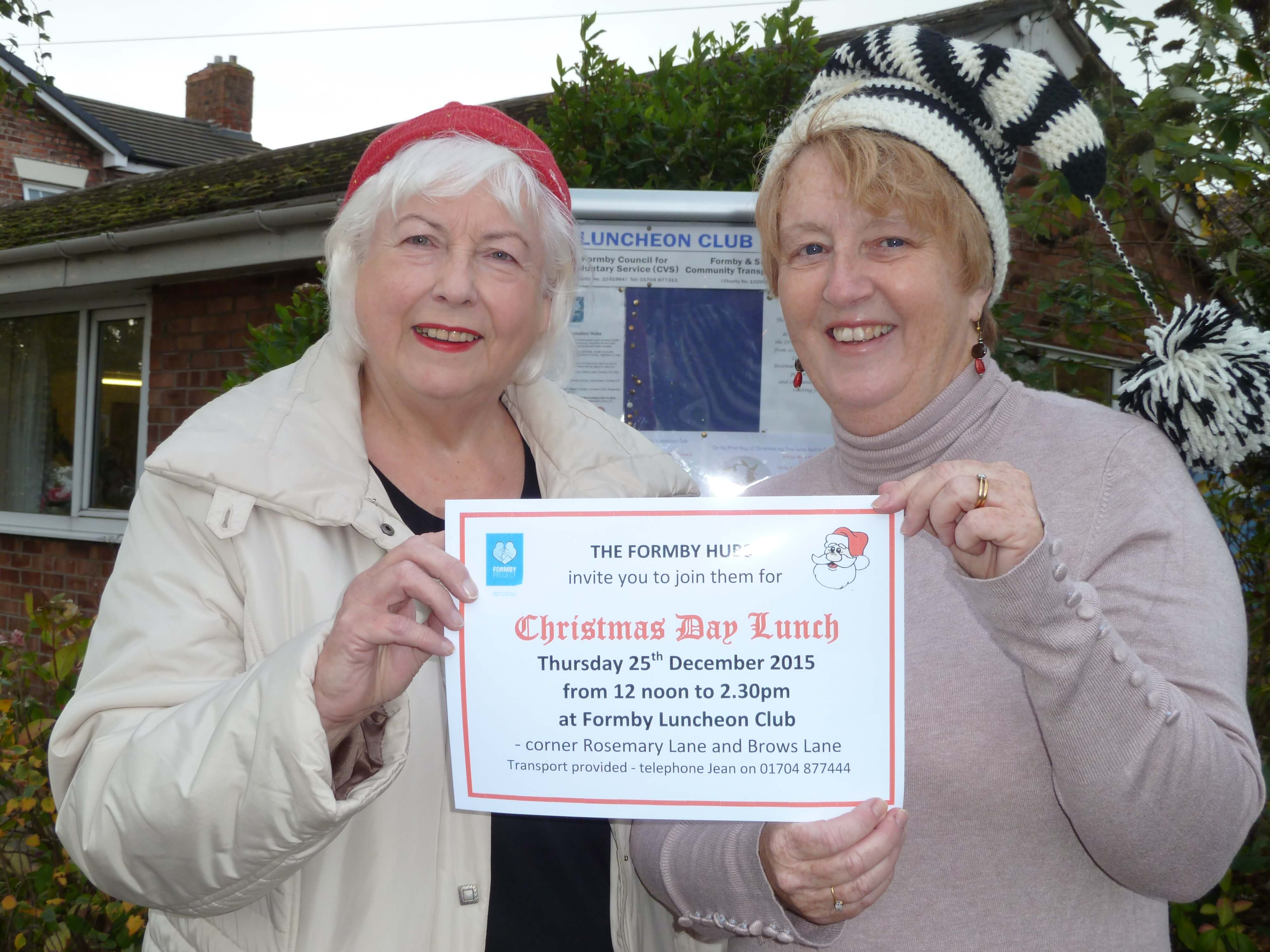 Formby Hub organisers Jean Jones and Cllr Catie Page are inviting people who want to attend the Christmas Day dinner to register.