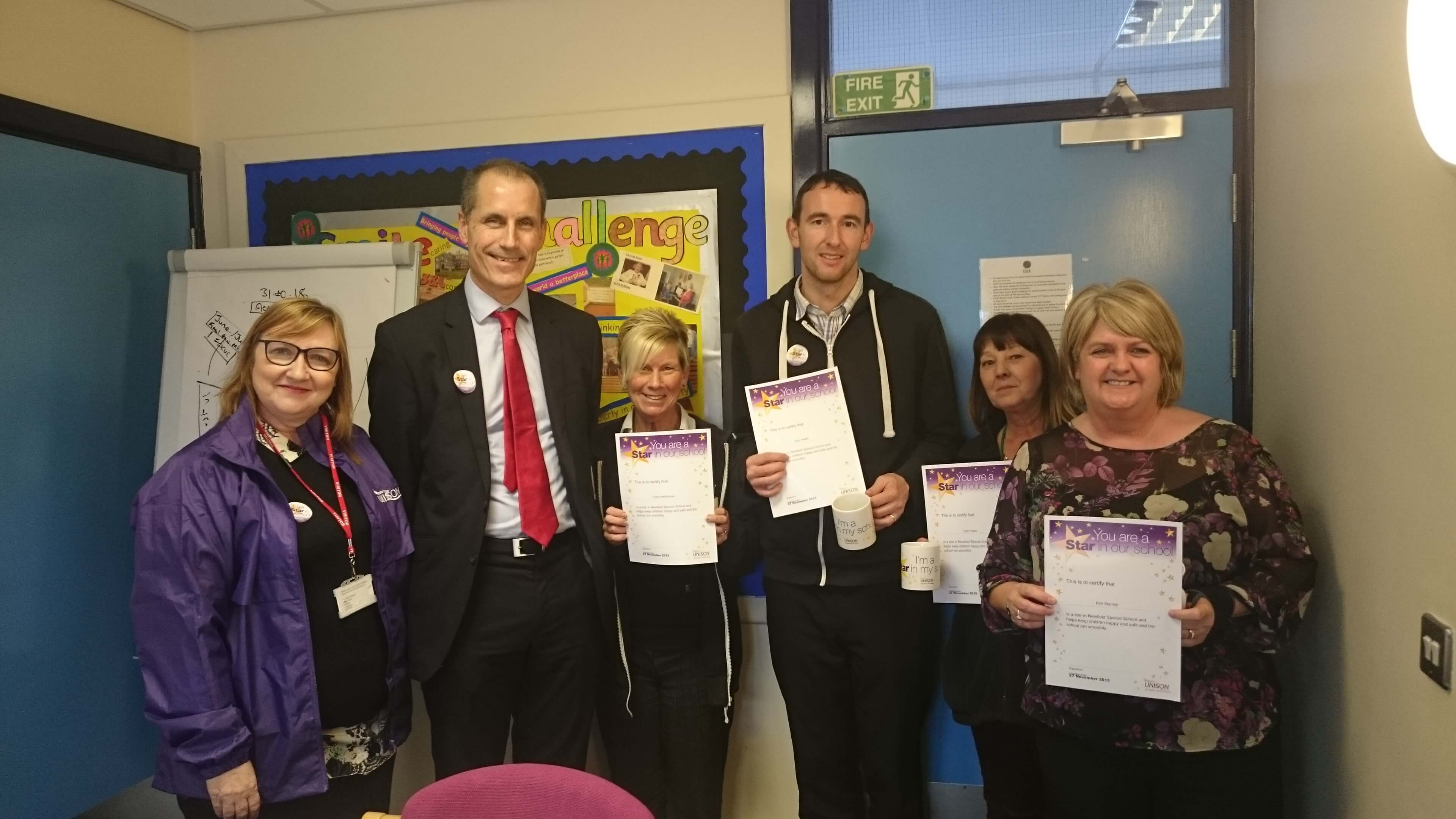 Bill Esterson MP with award winners from Newfield School in Edge Lane, Thornton, Cheryl McMichan, Gary Heath, Lyn Yates, Kim Stanley and UNISON official Jane Evanson