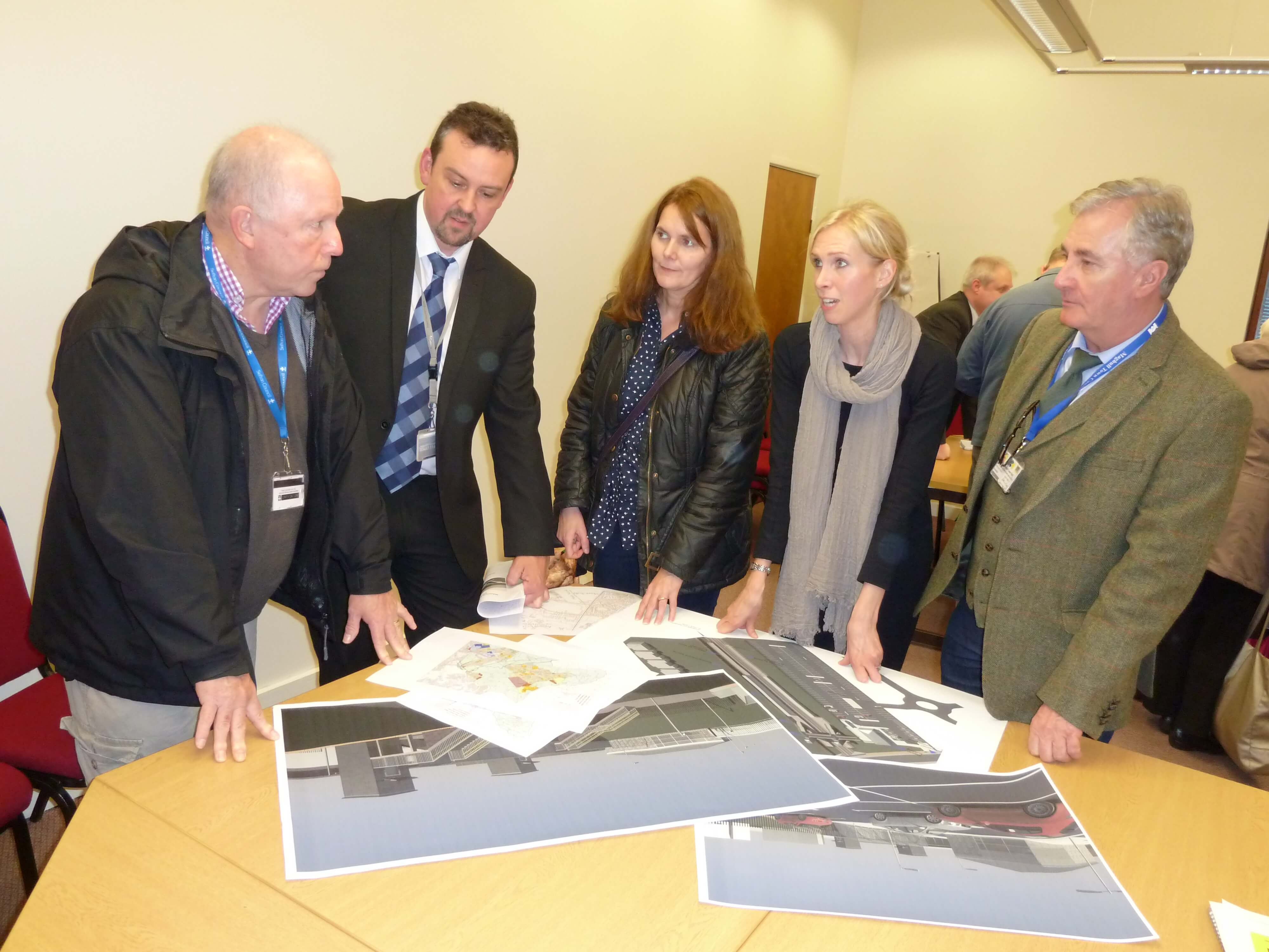 Maghull and Lydiate Labour councillors, John Sayers, Lynn Gatherer and Patrick McKinley talk through the plans for the new Maghull North station with Network Rail's project manager Rob Grey and Jill Stephenson.
