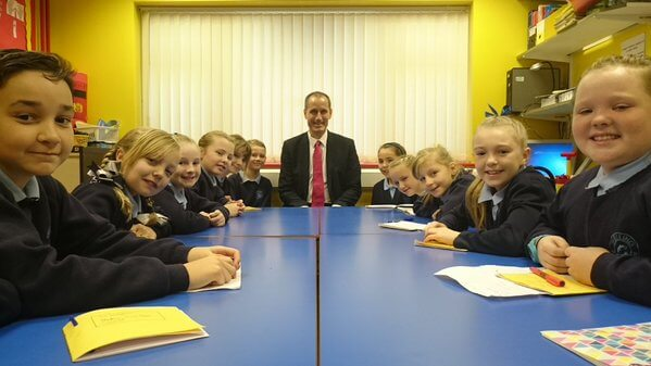 MP Bill Esterson with some of the Melling Primary School Parish Councillors.