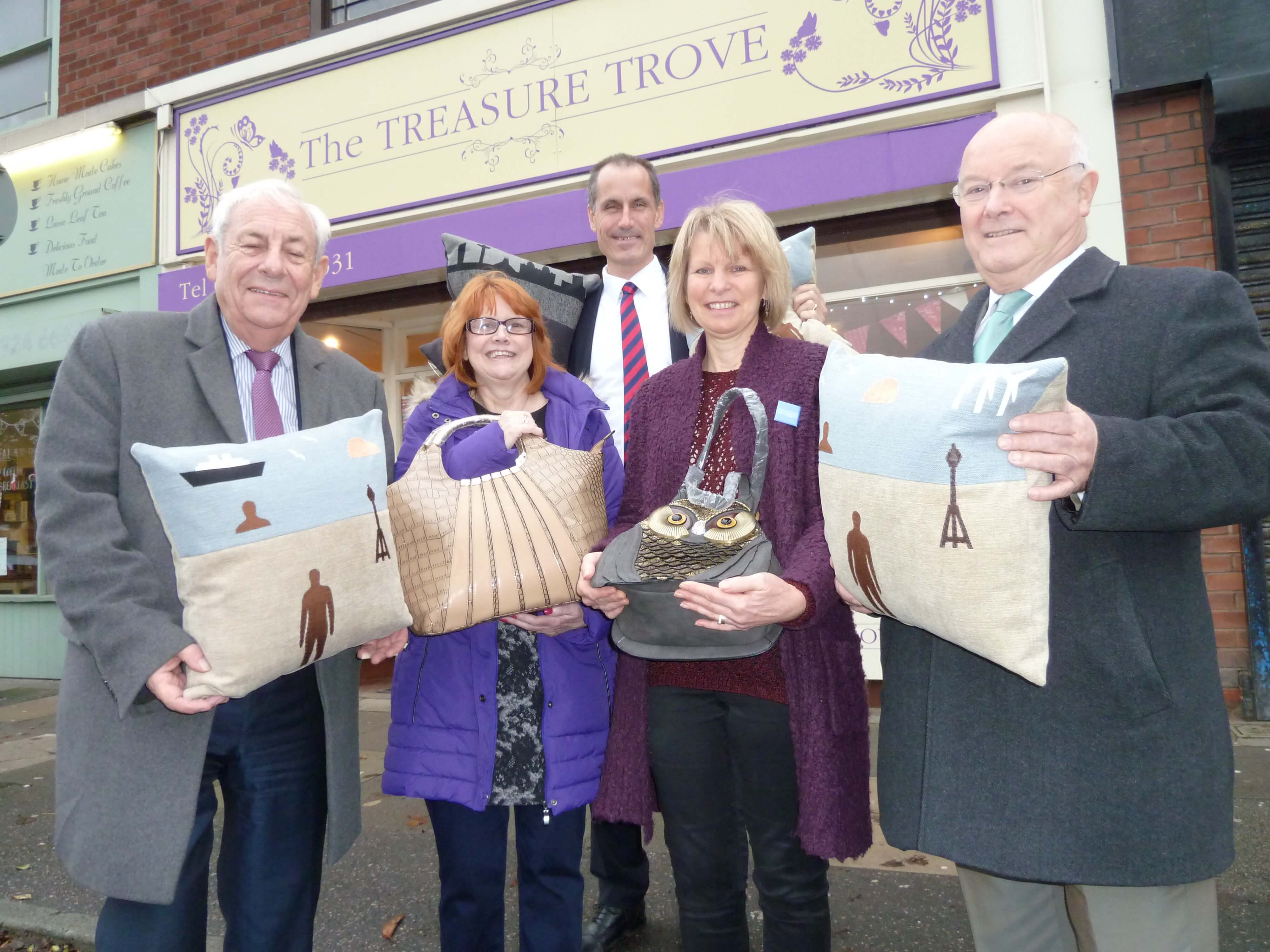 Bill Esterson and Federation of Small Businesses national chairman John Allen and Merseyside branch chairman Chris Burgess at Crosby's The Treasure Trove with Wendy Edwards and Lynn Gilbertson.