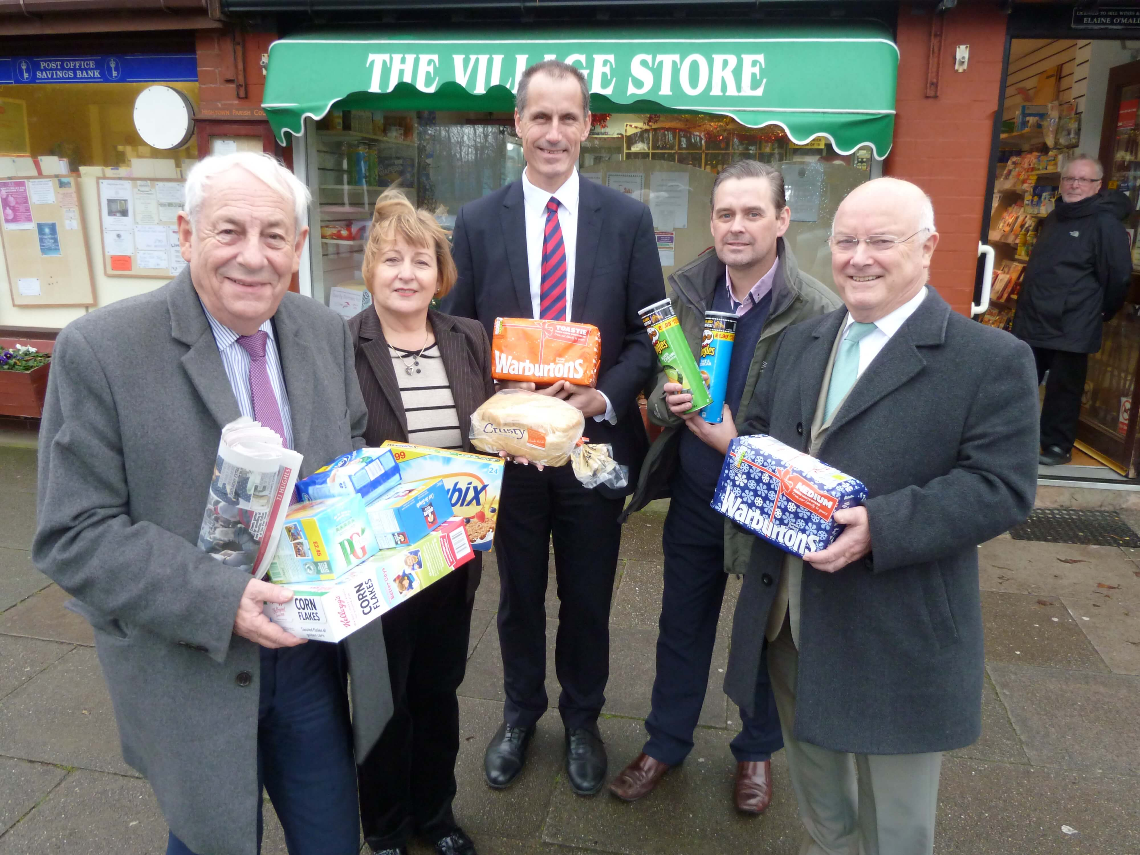Bill Esterson and Federation of Small Businesses national chairman John Allen and Merseyside branch chairman Chris Burgess at Hightown's The Village Store with owner Elaine O'Malley and Hightown's social media editor John McCall.