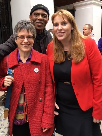 Angela Rayner with Stevenage CLP member Jill Borcherds
