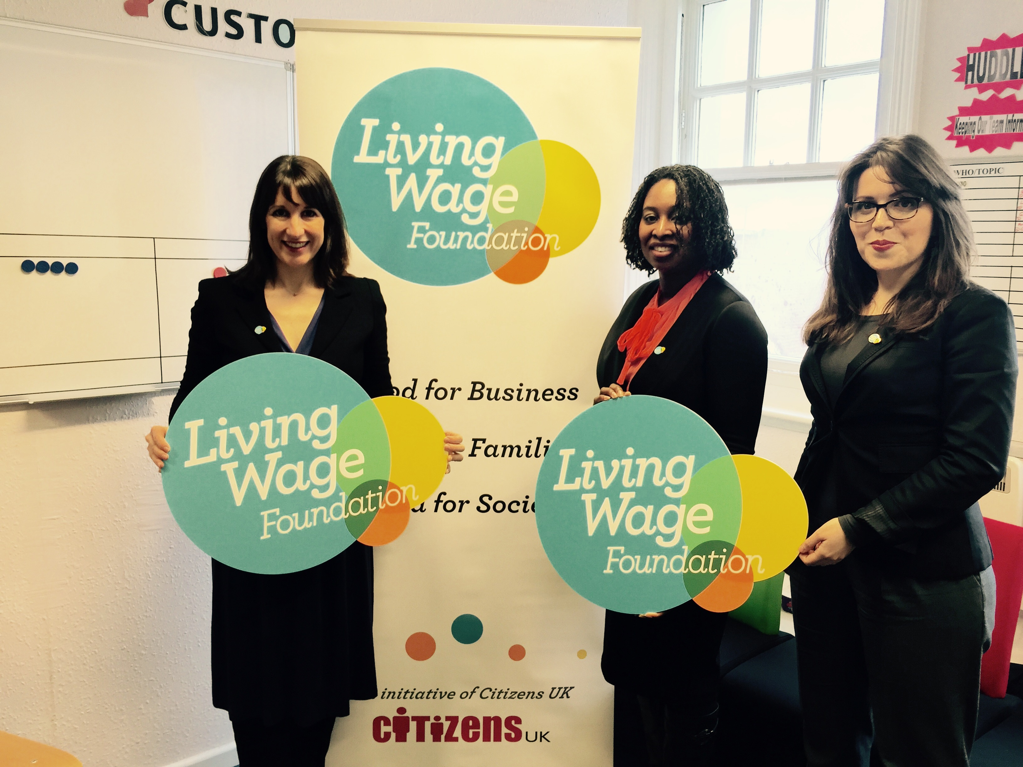 Dawn, Shadow Secretary of State for Work and Pensions Rachel Reeves MP and Cllr Roxanne Mashari launching Brent's Living Wage scheme
