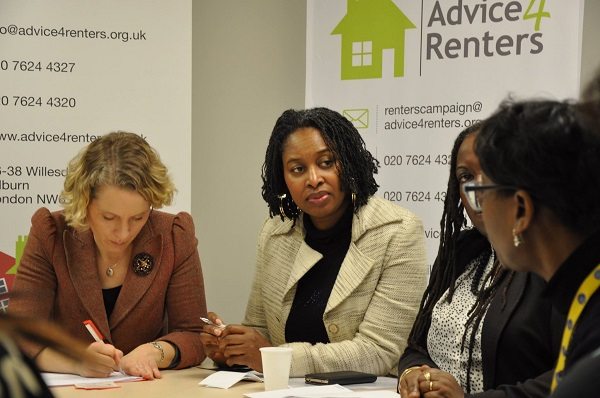 Dawn attending a meeting of advice for Renters