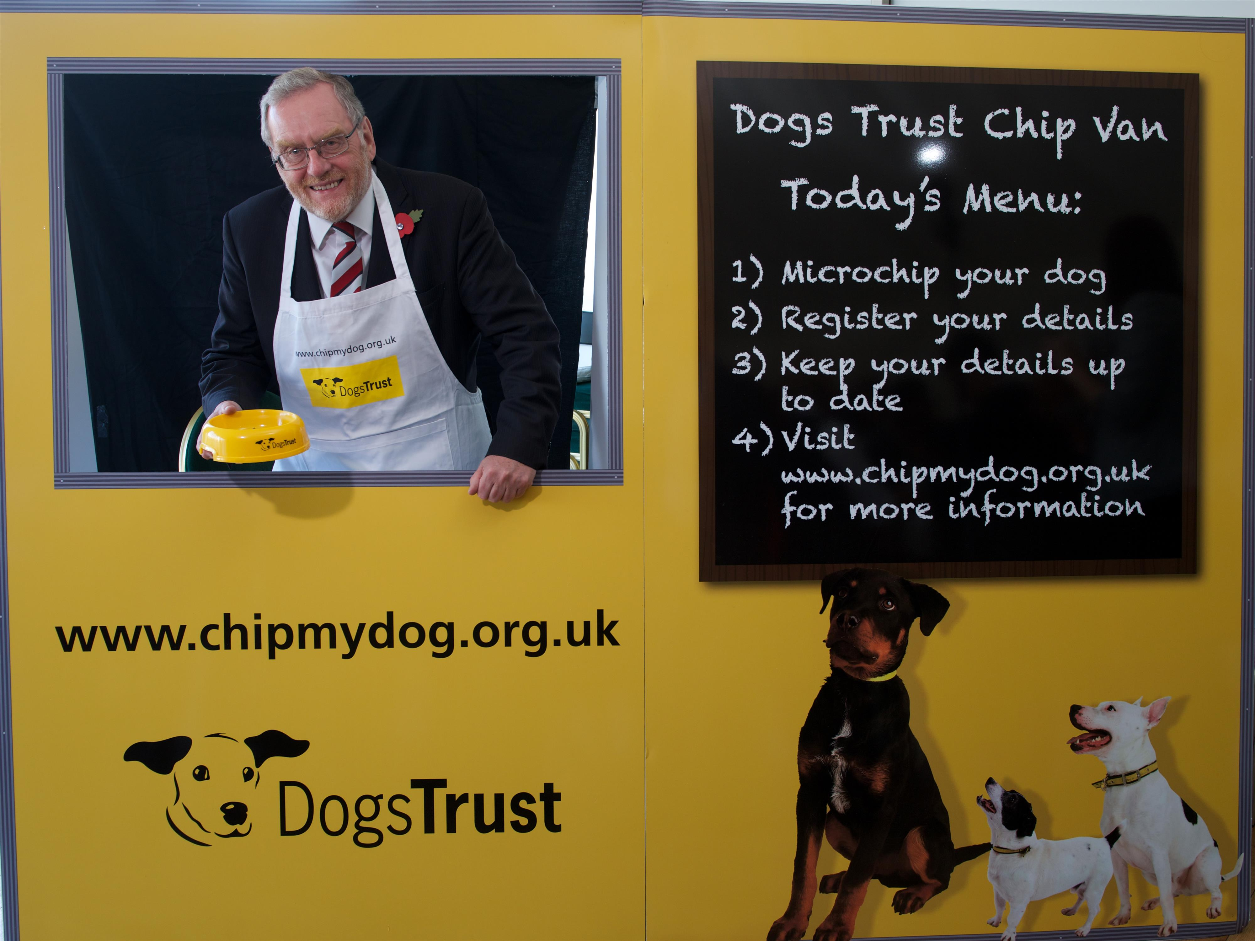 John Spellar MP in the Dogs Trust Chip Van