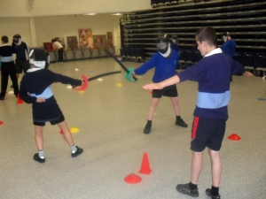 Children enjoying activities organised by the Salford South School Sports Partnership