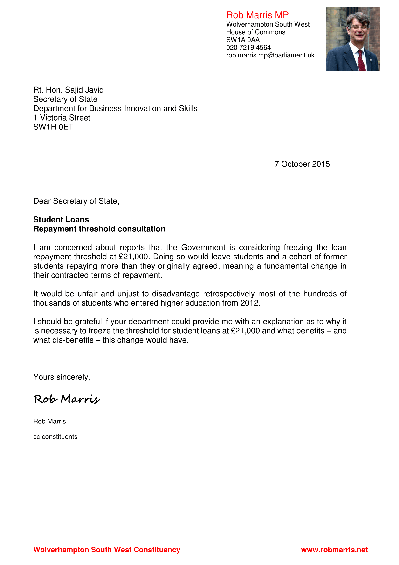 Letter to SOS