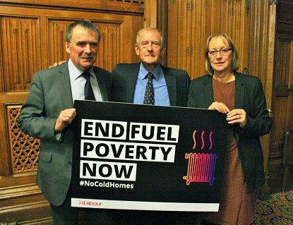 Barry Sheerman with Gill Furniss and Alan Whitehead, Shadow BEIS Ministers for the End Fuel Poverty campaign.