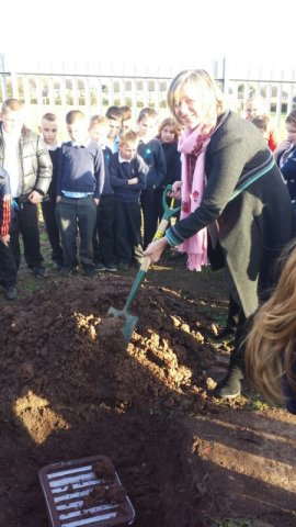 Lilian burying time capsule