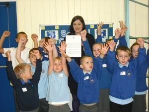 Bridget with pupils from Hetton School