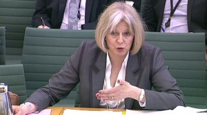 Theresa May giving evidence at the Home Affairs Select Committee