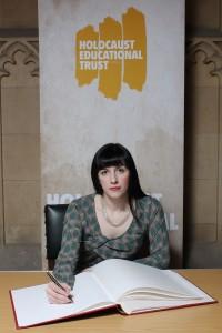 Bridget signs Holocaust Memorial Day book