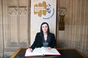 Bridget Phillipson MP signing Holocaust Memorical Day Book of Commitment