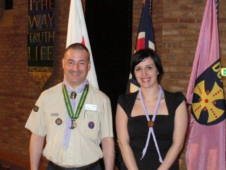 Bridget Phillipson with Jeff Ledger, County Commissioner after being elected Durham Scouts County President