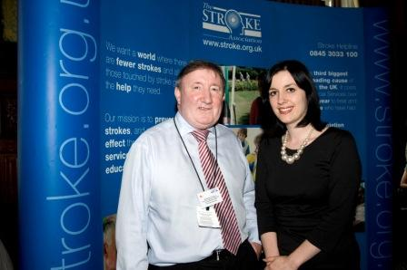 Bridget Phillipson MP with stroke survivor Steve Simpson at Stoke Association event in Westminster