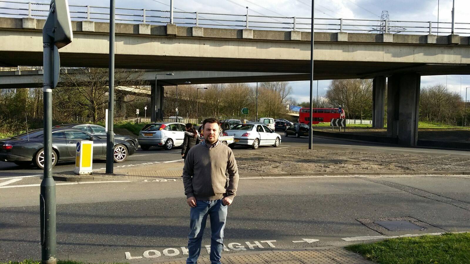 Cllr Duddridge at Charlie Brown's Roundabout