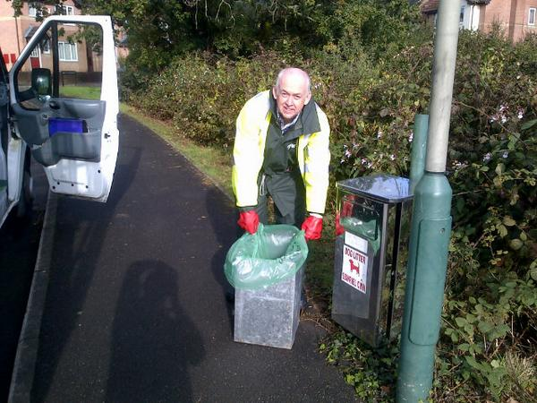 Wayne emptying a dog fouling bin in Machen