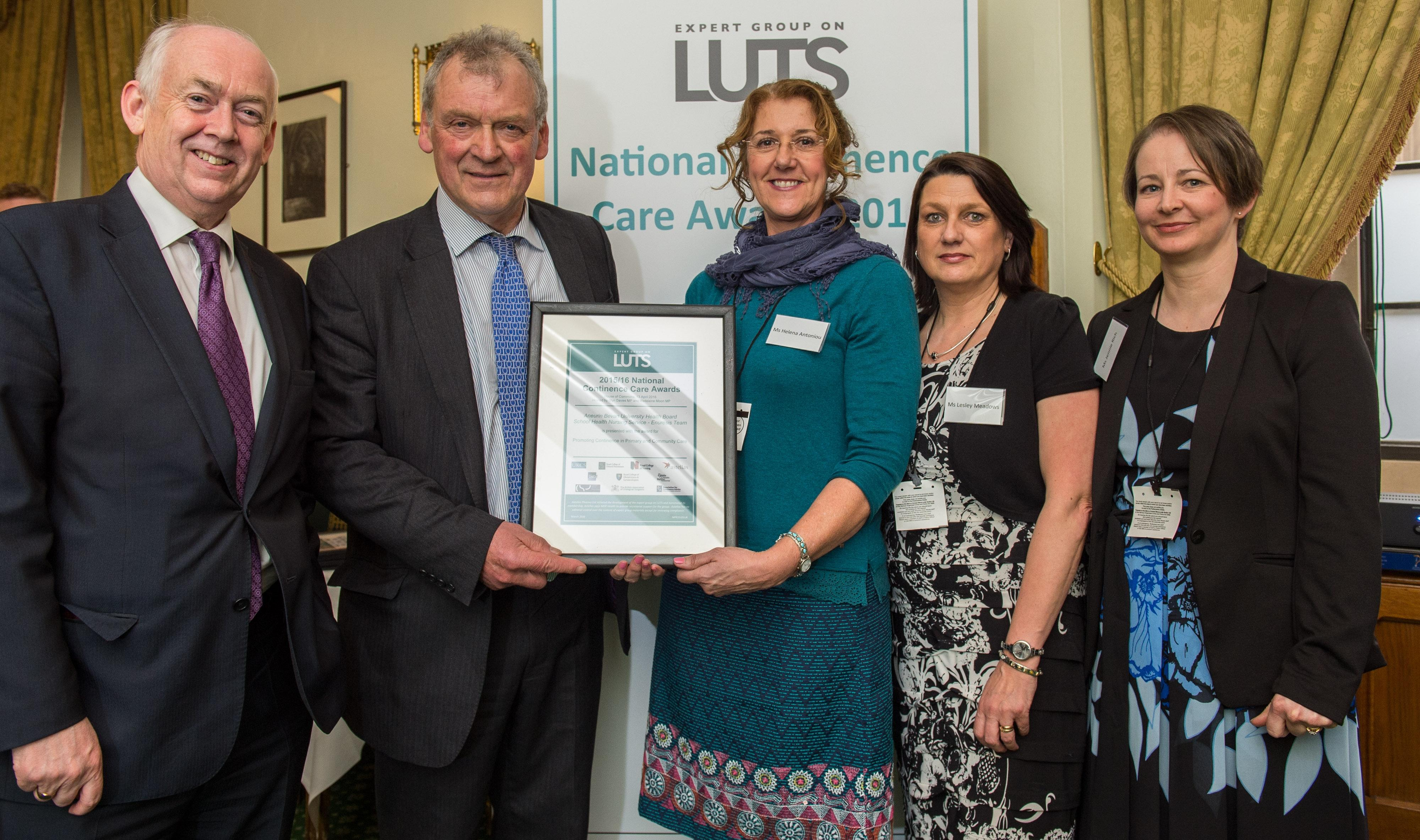 Aneurin Bevan Health Board team win National Continence Care Award