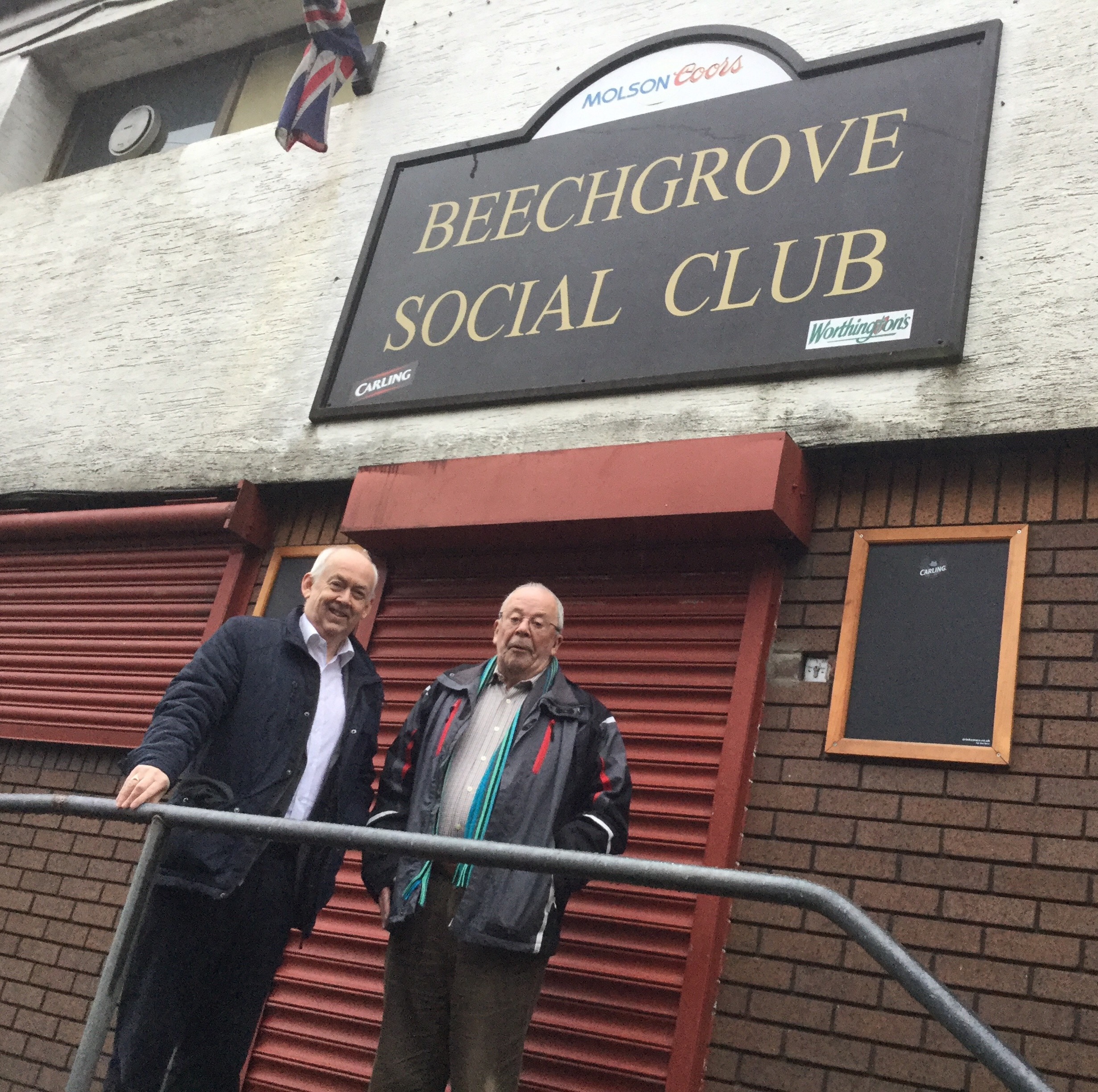 Wayne David and Fred Brewis outside Beechgrove Social Club