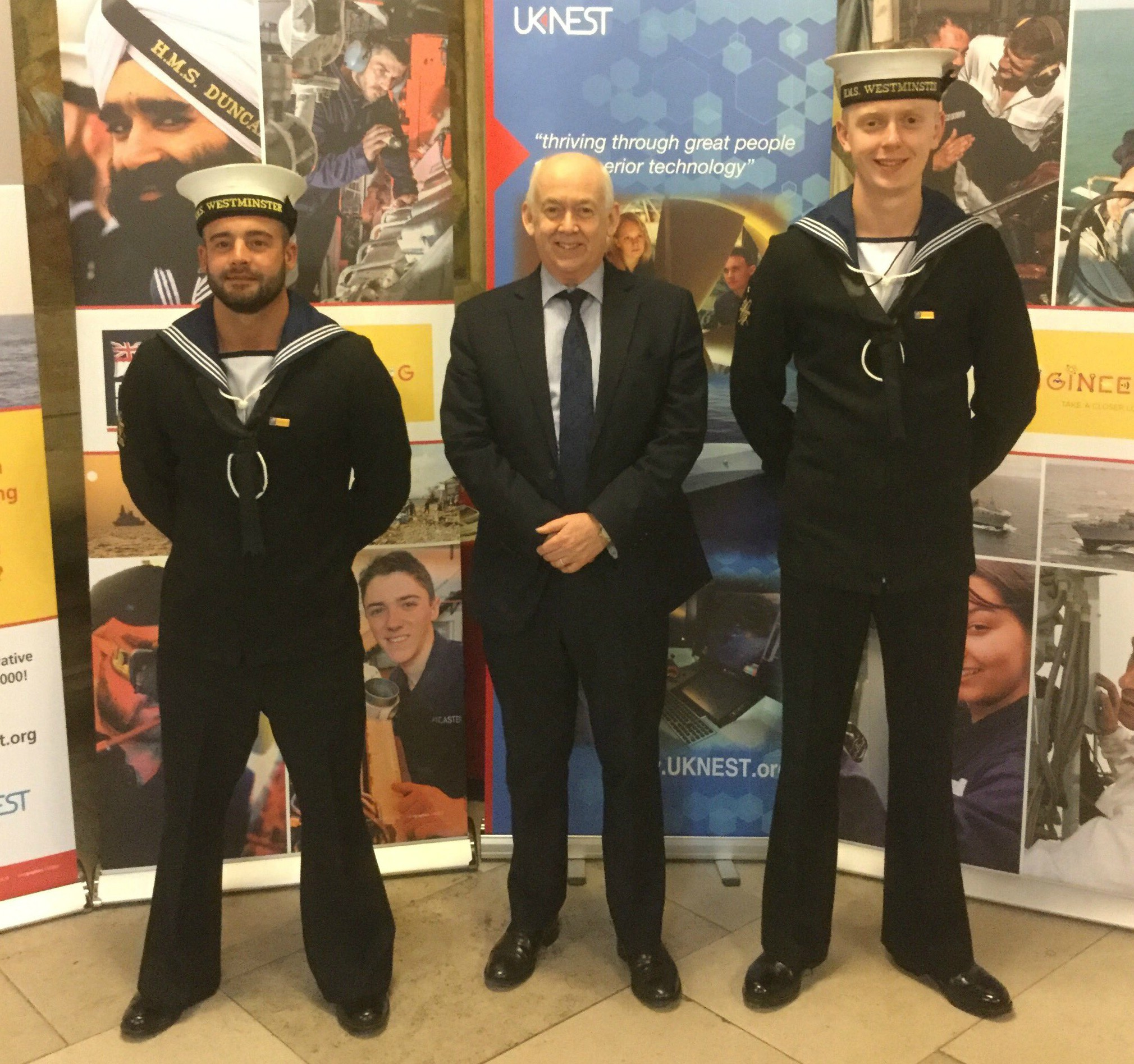 Wayne David and two members of the Royal Navy from HMS Westminster