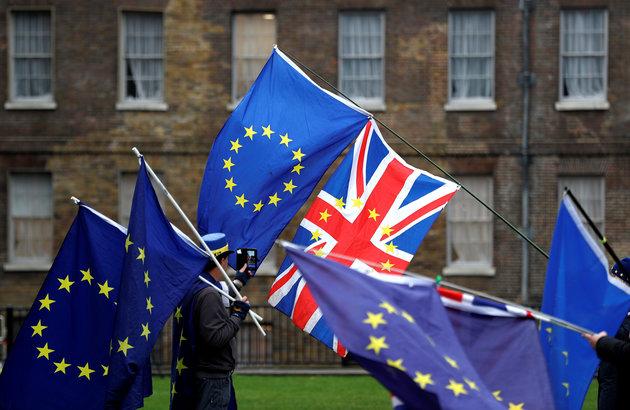 Union flag and EU flags