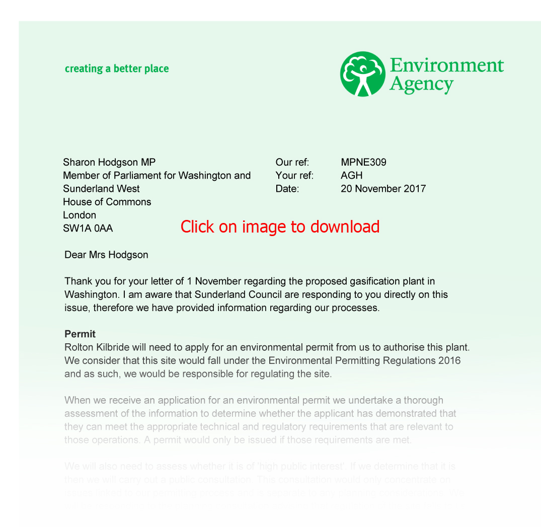 Environment Agency response