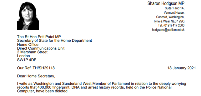 Image shows the top of the letter Sharon has sent to the Home Secretary