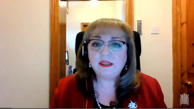 Image is of Sharon speaking virtually in the debate