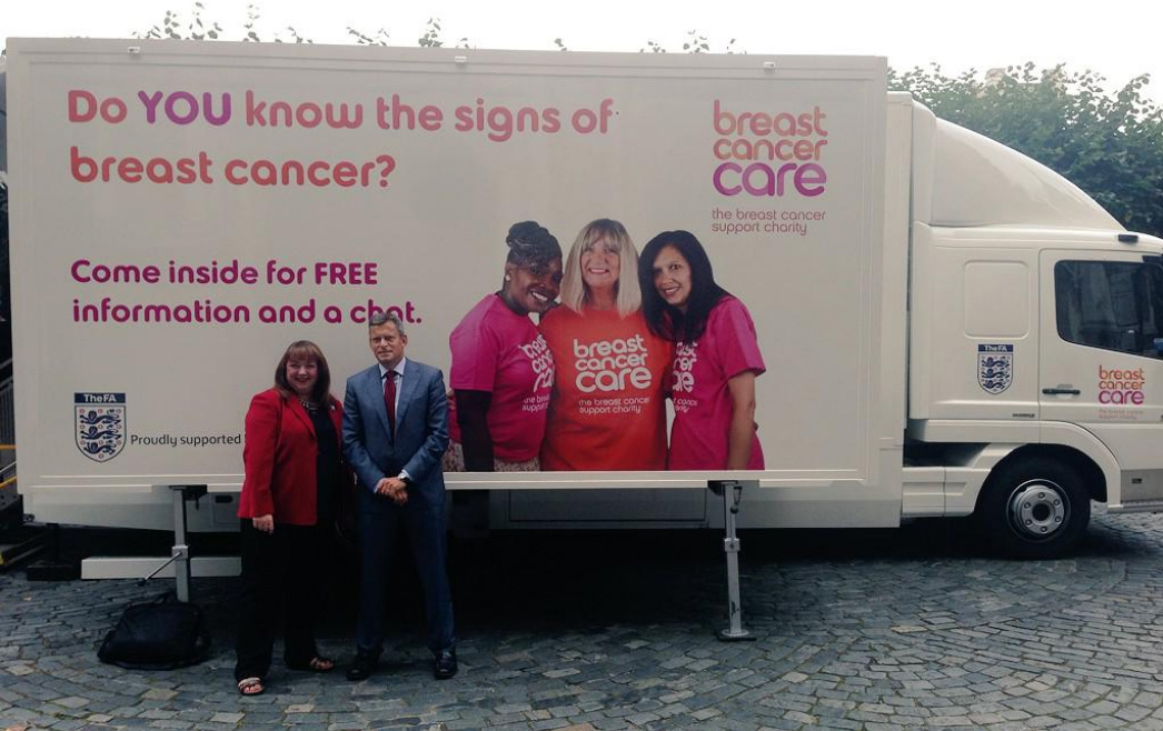 Sharon Hodgson MP with Martin Glenn from the FA with Breast Cancer Care