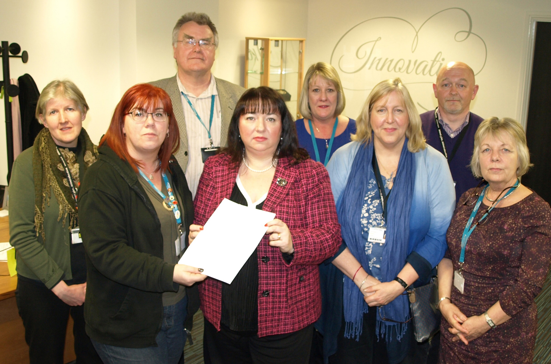 Sharon Hodgson receives petition from Sunderland College staff and UCU and Unison reps