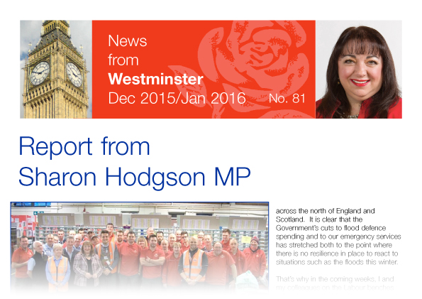 Sharon Hodgson MPs report - News from Westminster - Dec 2015 to Jan 2016 - number 81
