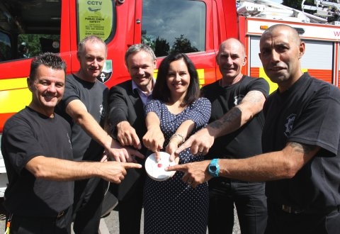Caroline with Edlington Fire Fighters