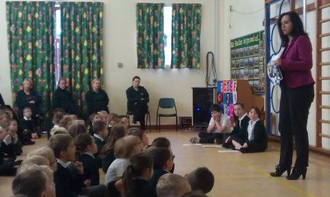 Caroline speaking to assembly
