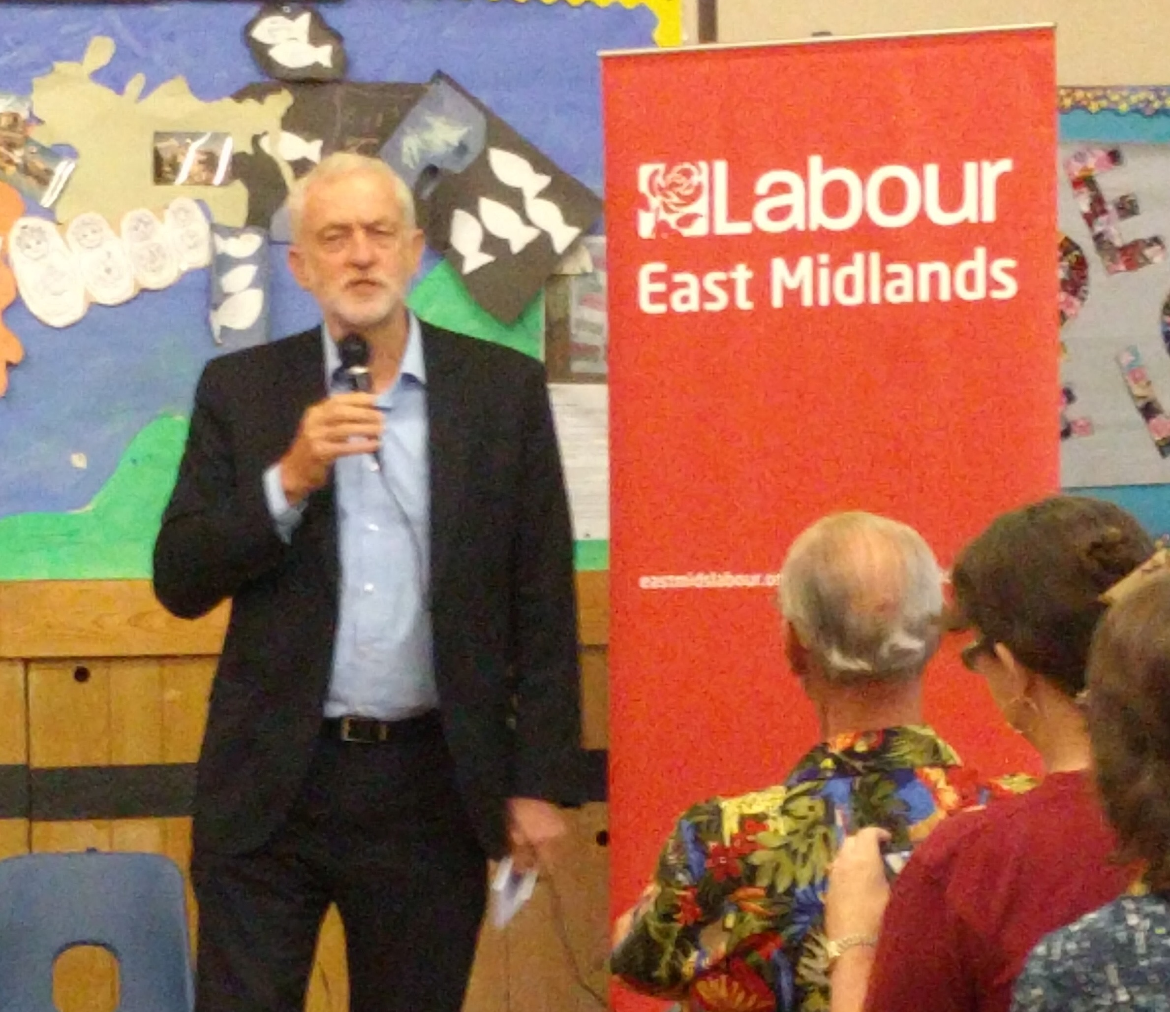 Jeremy Corbyn MP addressing the meeting at Emmanuel Church Hall