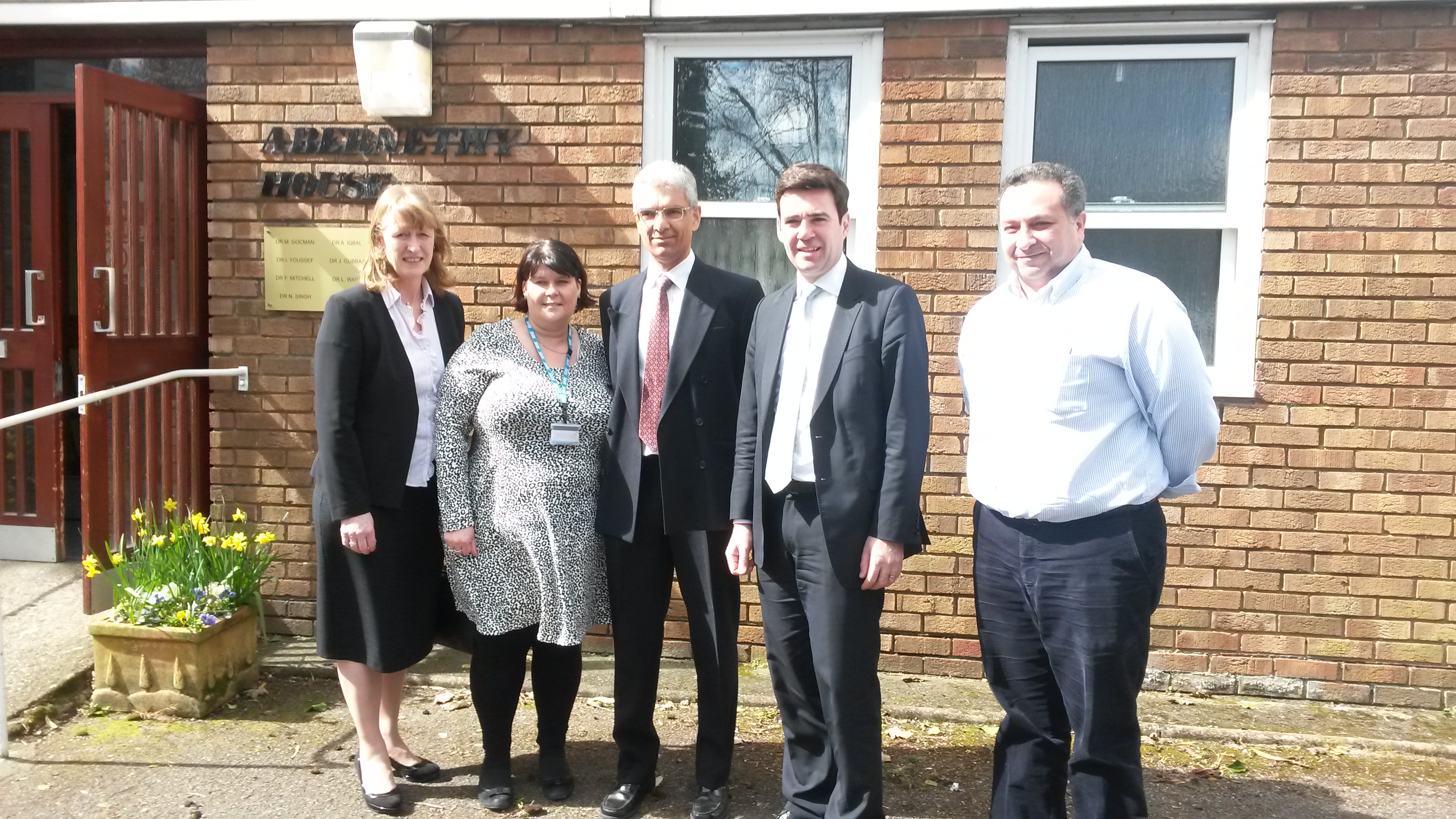 Joan Ryan, Labour candidate for Enfield North, with Andy Burnham and staff from Abernethy House GP Surgery