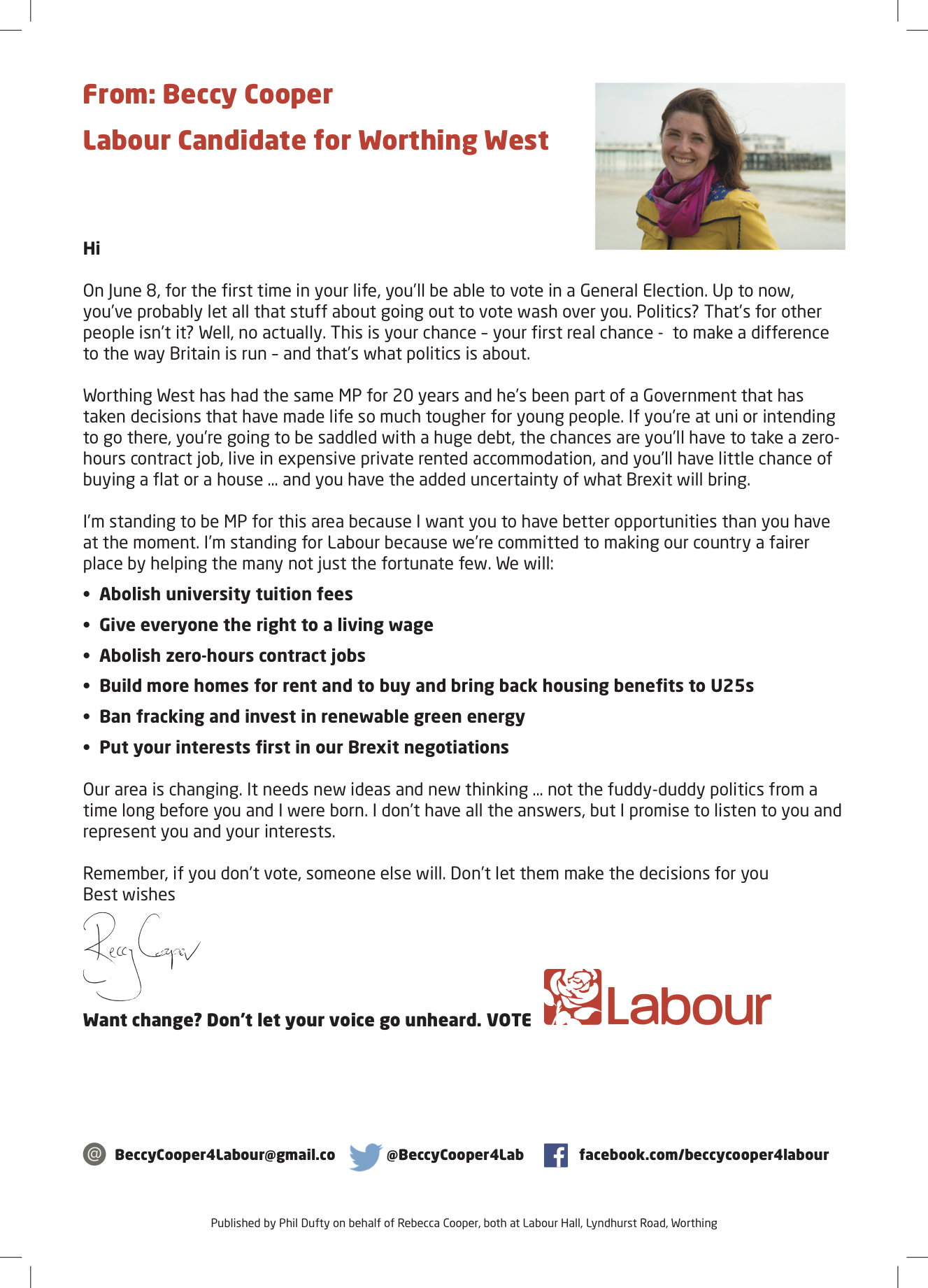 Letter to first time voters