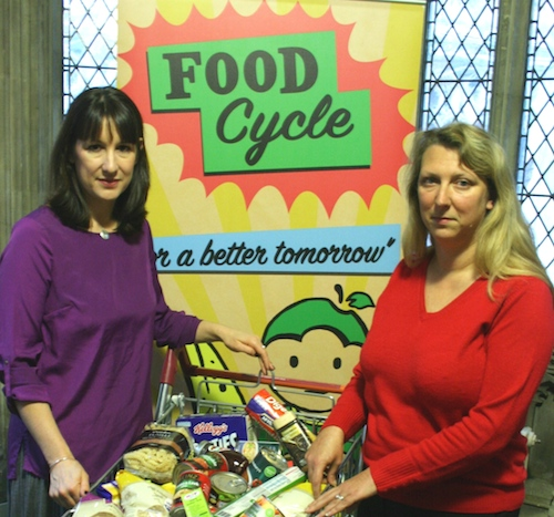 Lara and Rachel Reeves MP, Shadow Secretary of State for Work and Pensions pictured with a food bank collection
