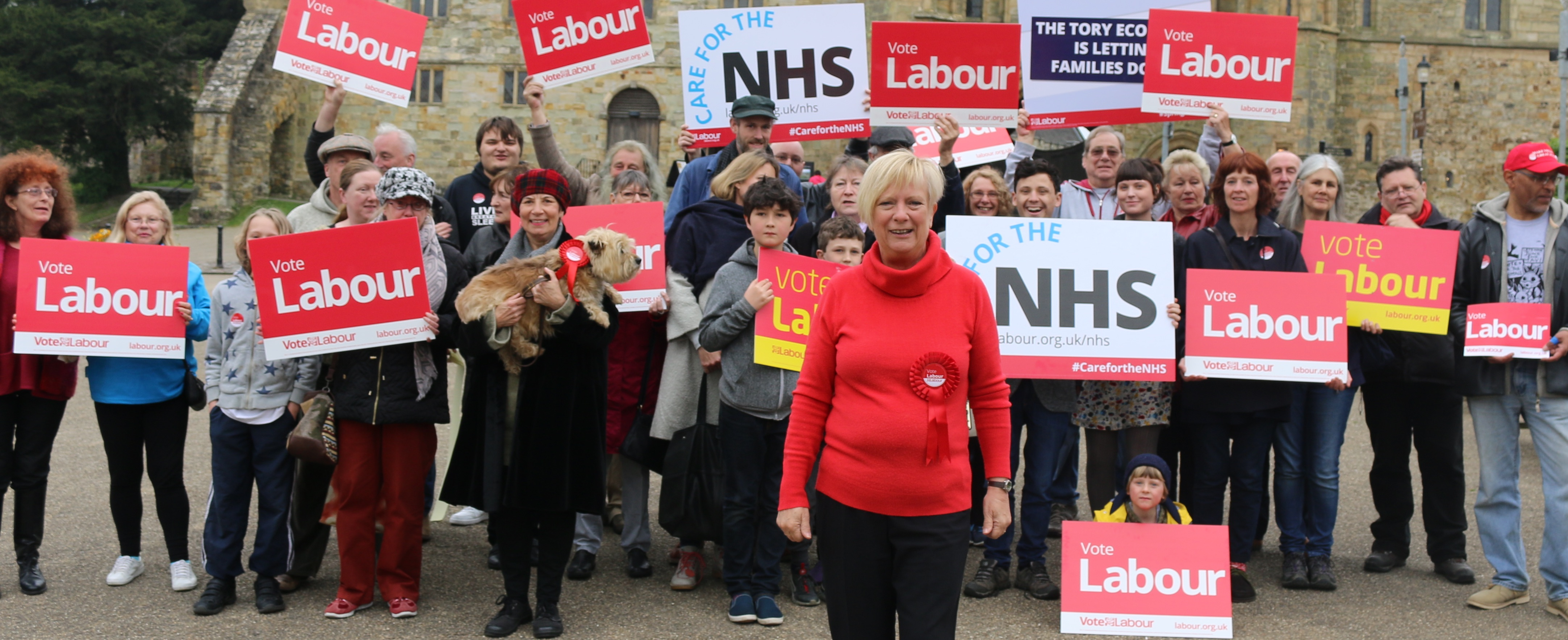 Labour's candidate Christine Bayliss with local supporters