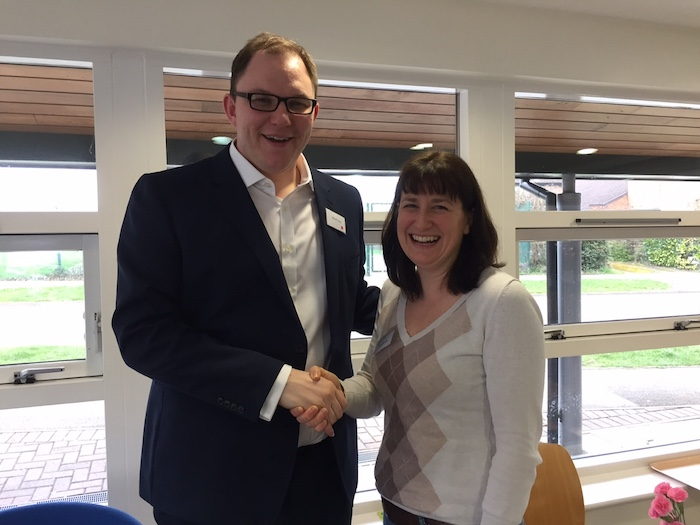 Julia with Gareth Snell following his by election victory in Stoke