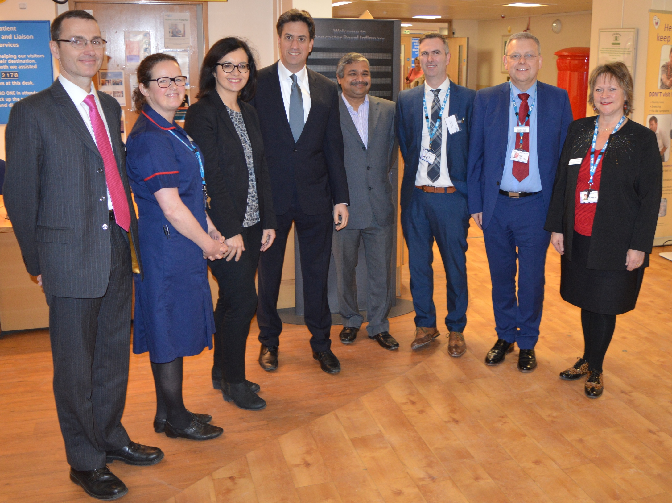 Photo (left to right): Dr Tim Noble, Emergency Care Group Director; Lesley Hammond, Operational Lead, Emergency Care Group; Caroline Flint MP; Ed Miliband MP; Dr Anurag Agrawal, Consultant Gastroenterologist; David Purdue, Chief Operating Officer; Richard Parker, Acting Chief Executive; and Suzy Brain England, Trust Chair