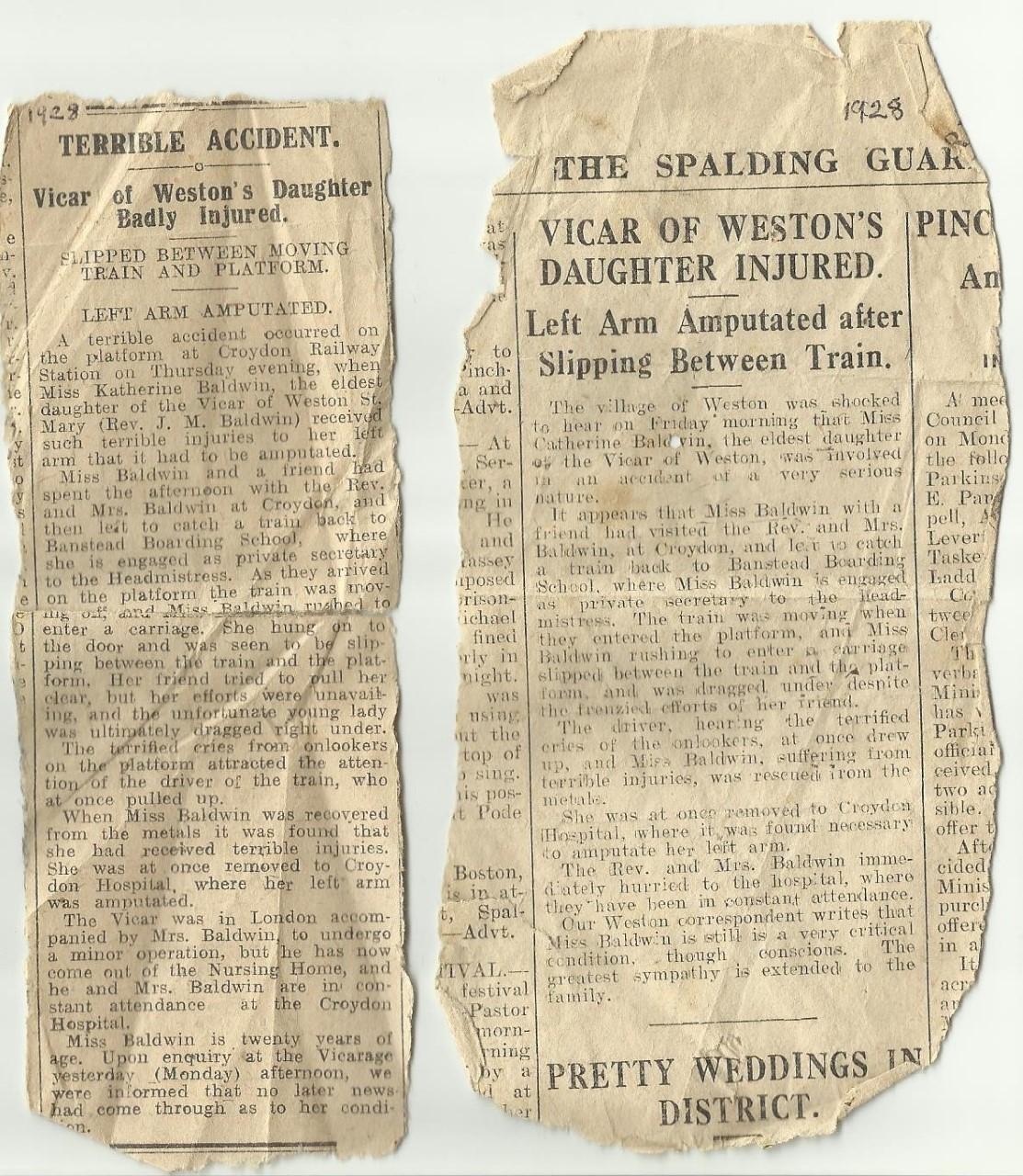 Train accident, Croydon, 1928