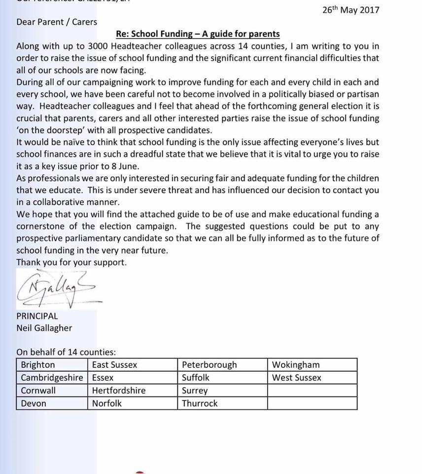 Clacton School Funding Letter