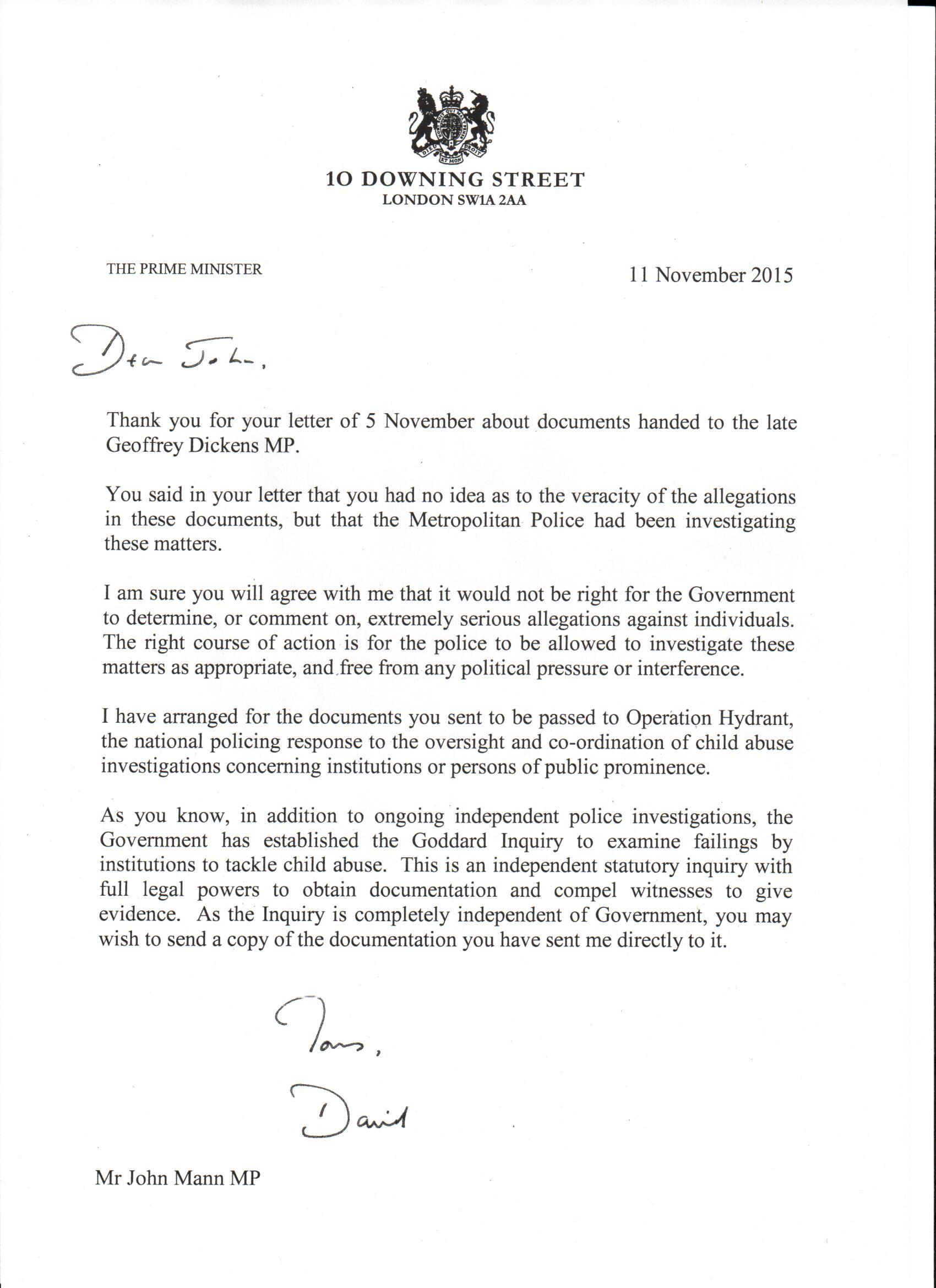 Letter and response from the Prime Minister regarding the Dickens – Response Letter