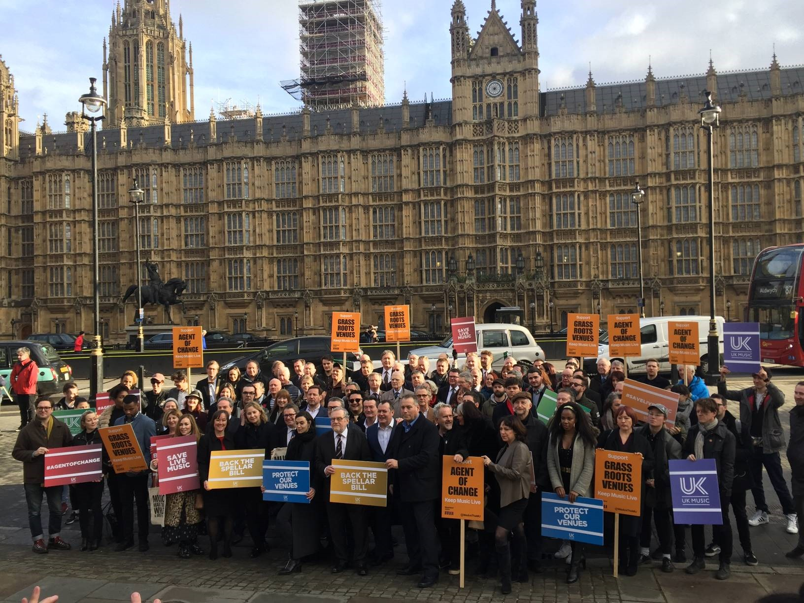 campaigners gathered outside the Houses of Parliament