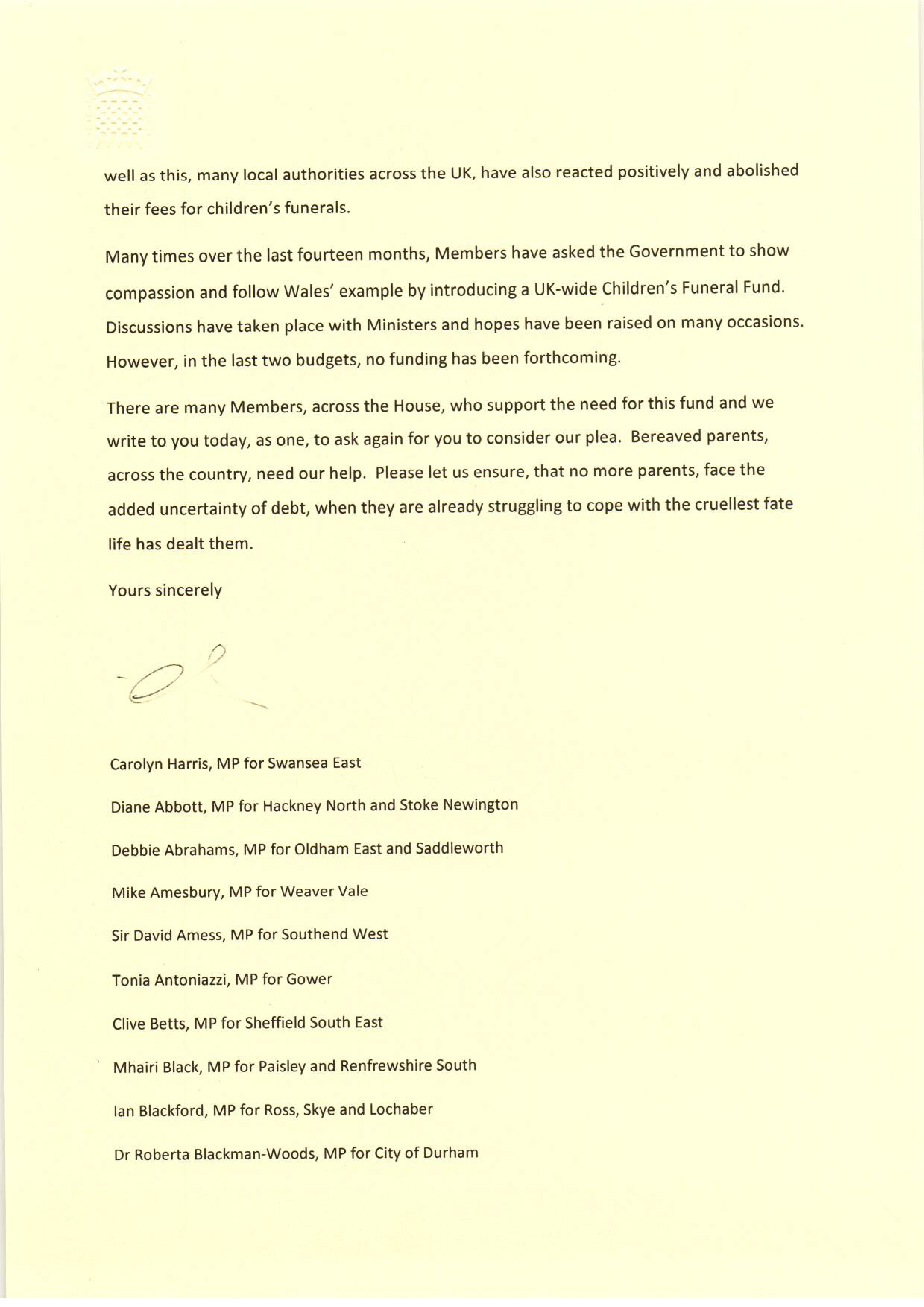 funeral letter