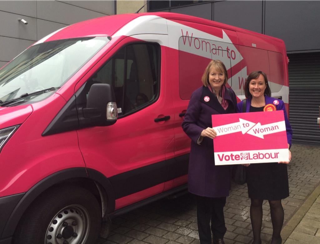 Harriet and Jo with the Pink Bus